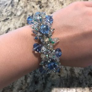Beautiful Blue Beaded Bracelet with Magnetic Clasp